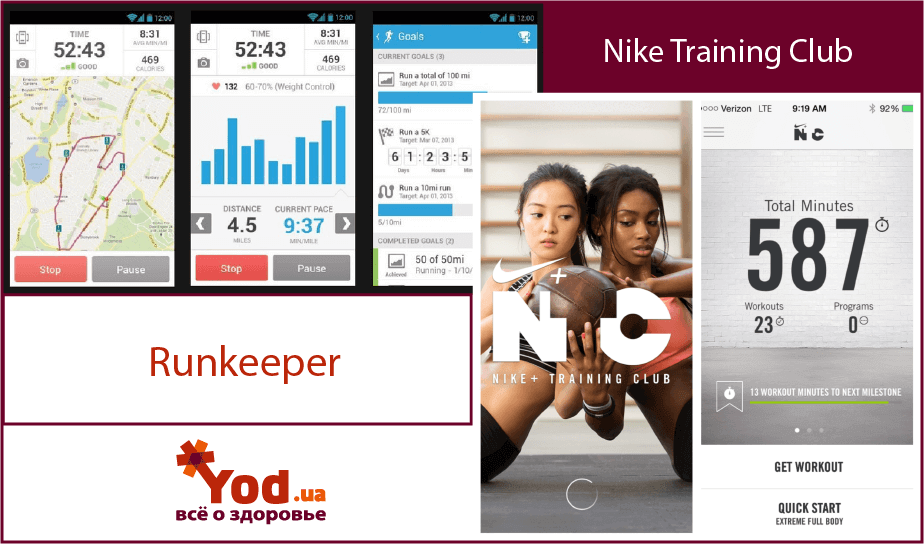 Runkeeper, Nike Training club